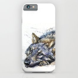 Wolf watercolor iPhone Case