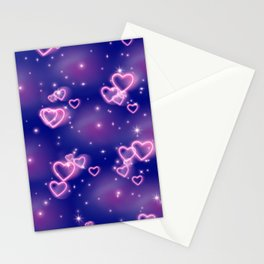 Pink Neon Heart Pattern Stationery Cards