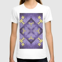Rich purple texture with pretty gold flowers T-shirt