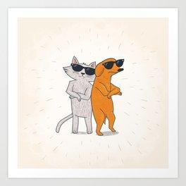 Cat - Dog Art Print
