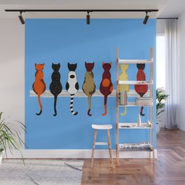 Cat Fence Sitters (Blue) Wall Mural