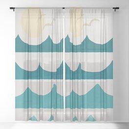 Abstract Waves Sheer Curtain