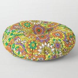 Funky Vintage Retro 70s Golden Hippie Flower Pattern Floor Pillow