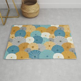 Sea Urchins in Blue + Gold Rug