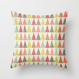 Whimsical Christmas Trees Throw Pillow