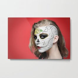 Natalie Dormer Dia de Los Muertos Day of the Dead MakeUp Metal Print