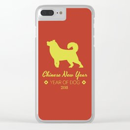 Chinese New Year poster for the year of the earth dog 2018 Clear iPhone Case