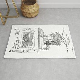 QWERTY Typewriter: Christopher Latham Sholes QWERTY Typewriter Patent Rug