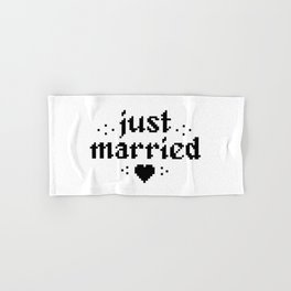 just married couple wedding gift pixel heart Hand & Bath Towel