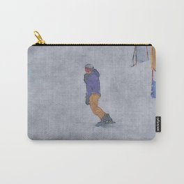 Sliding into Home - Winter Snowboarder Carry-All Pouch