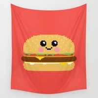hamburger Wall Tapestries featuring Happy Pixel Hamburger by Mouki K. Butt