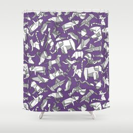origami animal ditsy purple Shower Curtain
