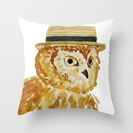 Dapper Owl or Owl Capone? Throw Pillow