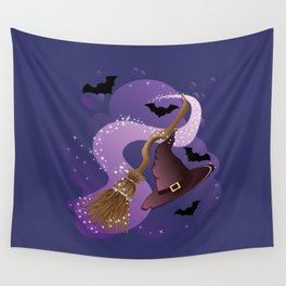 Witch hat and broom Wall Tapestry