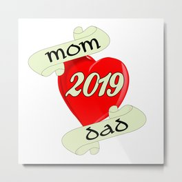 Mom and Dad 2019 Heart Metal Print
