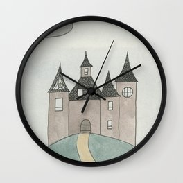 Golden Path to the Castle on a Hill Wall Clock