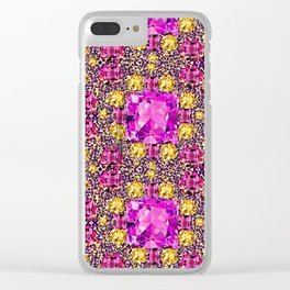 BEAUTIFUL FACETED PINK SAPPHIRES & CITRINES GEMS ART Clear iPhone Case