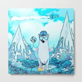 Polar bear on the surf board Metal Print