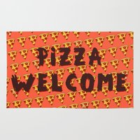 pizza Area & Throw Rugs featuring PIZZA by Kaitlin Smith