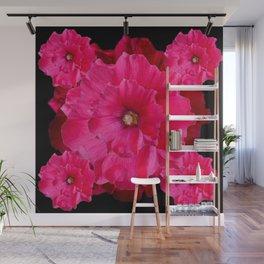 BLACK FUCHSIA-PINK  DOUBLE  HOLLYHOCK FLOWERS GARDEN Wall Mural