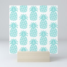 Retro Mid Century Modern Pineapple Pattern 731 Turquoise Mini Art Print