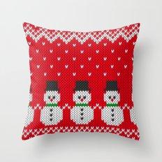 Knitted snowman pattern Throw Pillow