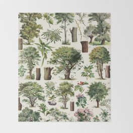 Adolphe Millot - Arbres A - French vintage botanical poster Throw Blanket