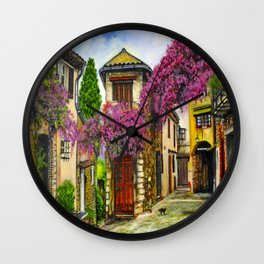 Courtyard in Provence Wall Clock