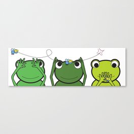 See no evil, Hear no evil, Speak no evil - Frogs Canvas Print