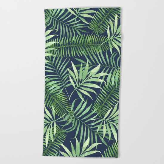 Tropical Branches on Dark Pattern 04 Beach Towel