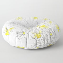 white daisy and yellow daffodils ink and watercolor Floor Pillow