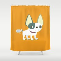frenchie Shower Curtains featuring Frenchie by Fabio Rex