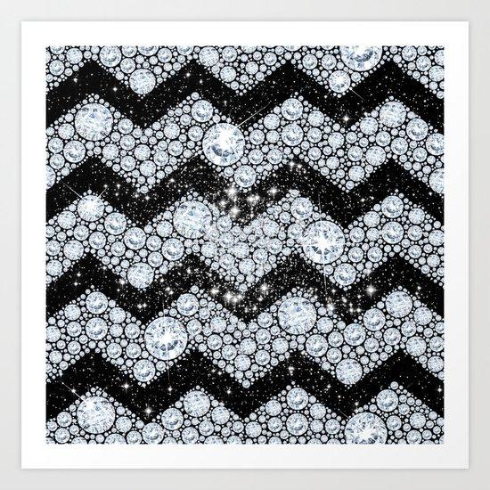 CHEVRON - Diamonds and Stars Art Print