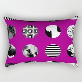 Purple Delight - Black And White Eclectic Random Designs On A Purple Background Rectangular Pillow