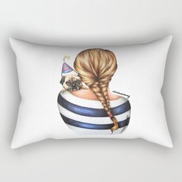 Brunette Braid Hairstyle Girl with Pug Dog Drawing Rectangular Pillow