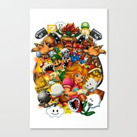 mario bros Canvas Prints featuring Super Mario Bros. Battle by Magik Tees