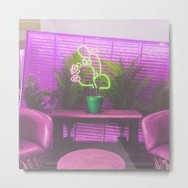 Neon Cactus Metal Print