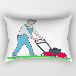 Gardener Mowing Lawn Cartoon Rectangular Pillow