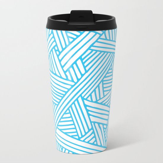 Abstract Teal & white Lines and Triangles Pattern-Mix and Match with Simplicity of Life Metal Travel Mug