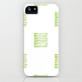 Grass green stripes, hand painted rough texture iPhone Case