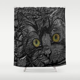 Metal cat Shower Curtain