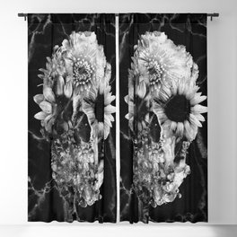 Floral Marble Skull Blackout Curtain