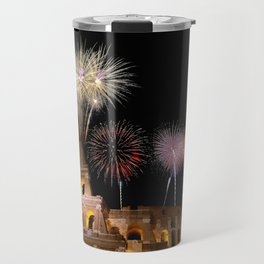 Colosseum illuminated with fireworks in Rome. Travel Mug