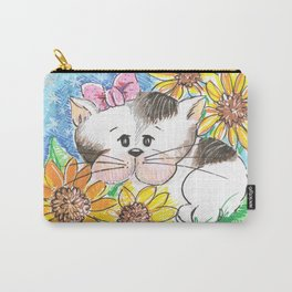 Marisol y los girasoles, the cat and the Sunflowers Carry-All Pouch