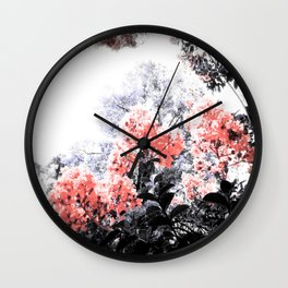 Coral Pink Peach & Gray Floral Wall Clock