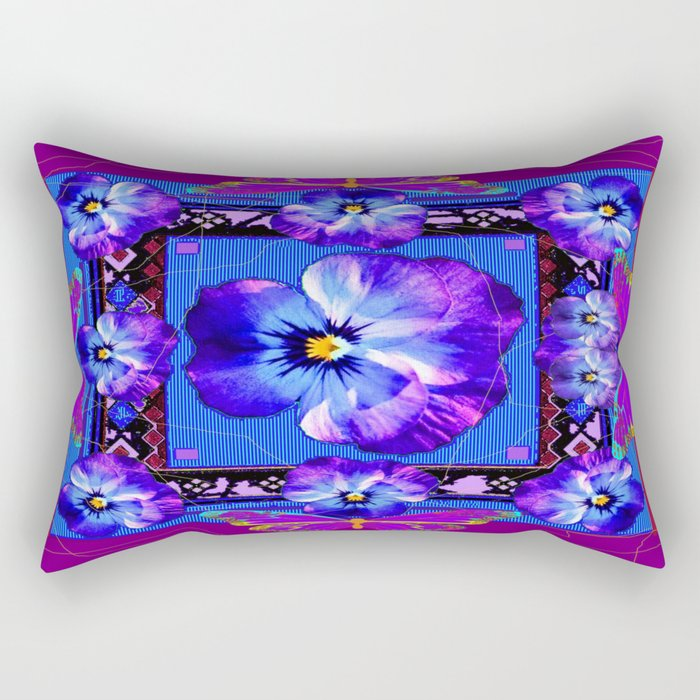 Purple Pansy & Butterflies Melody Abstract Rectangular Pillow