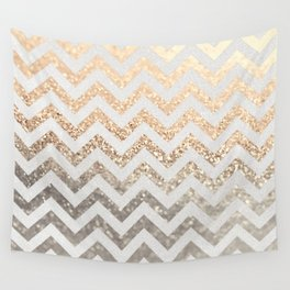 GOLD & SILVER CHEVRON Wall Tapestry