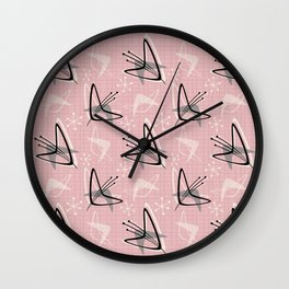 Cosmic Tulips on Pink Wall Clock