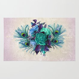Peacock Feather Flowers Rug