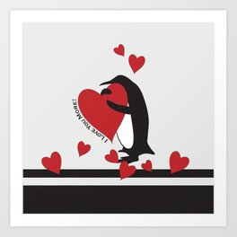 Penguin and Red Hearts - I Love You More! Art Print
